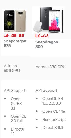 LG G5 SE VS LG G3