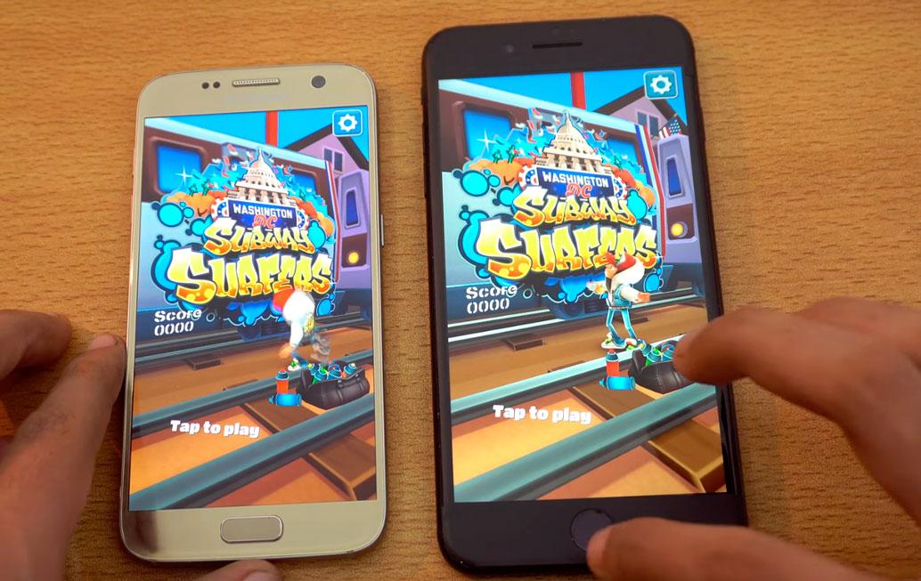 Galaxy S7 vs iPhone 7 Plus em teste de velocidade