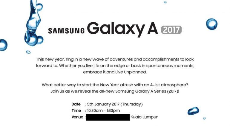 Convite para o lançamento da linha Galaxy A 2017 da Samsung