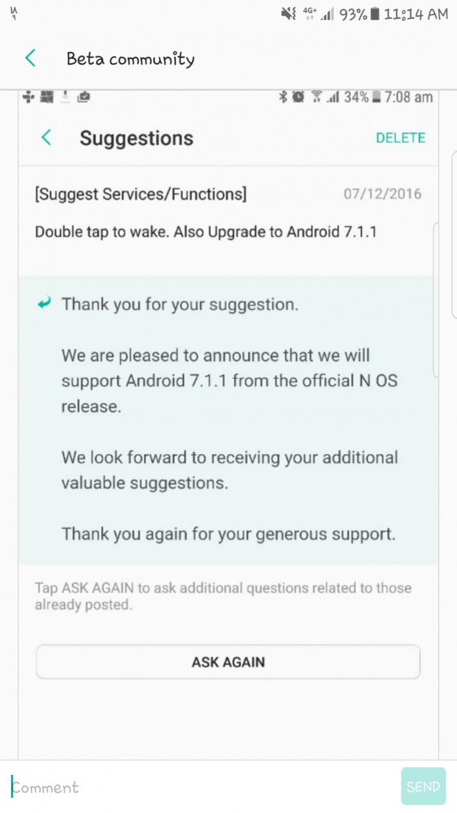 android nougat no 7.1.1 galaxy s7 e s7 edge