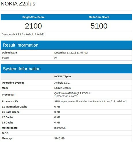 geekbench nokia z2 plus