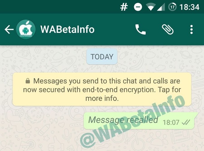 WhatsApp no beta permite deletar mensagem